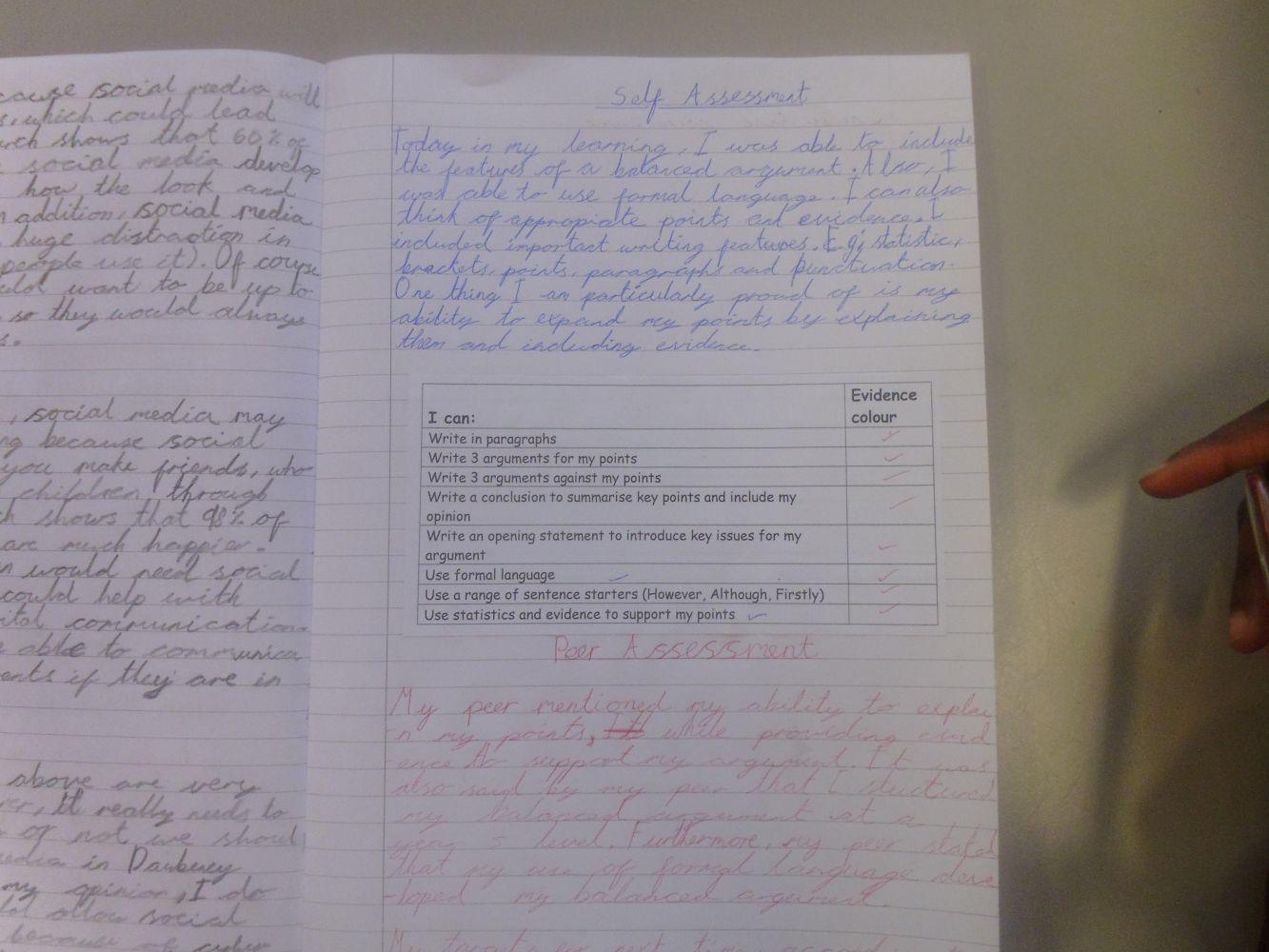 Year 5 - Self and Peer Assessment - Daubeney Primary School